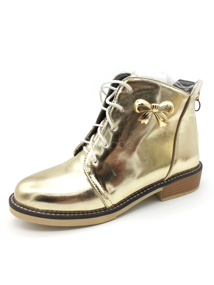 Women's Gold Booties Round Toe PU Lace Up Bow Booties