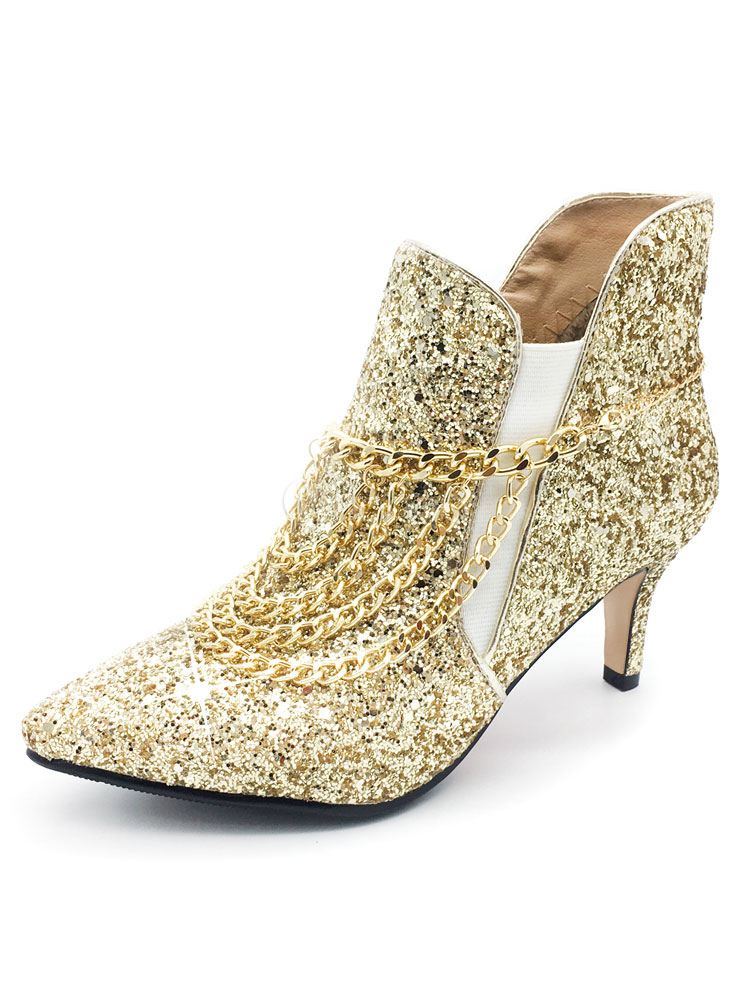 Glitter Ankle Boots Women's Pointed Toe