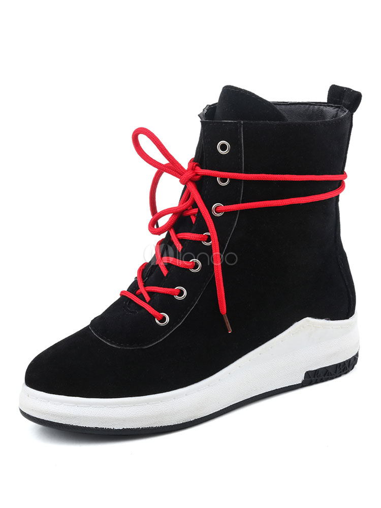 Buy Black Ankle Boots Round Toe Wedge Heel Suede Lace Up Women's Casual Booties for $37.99 in Milanoo store
