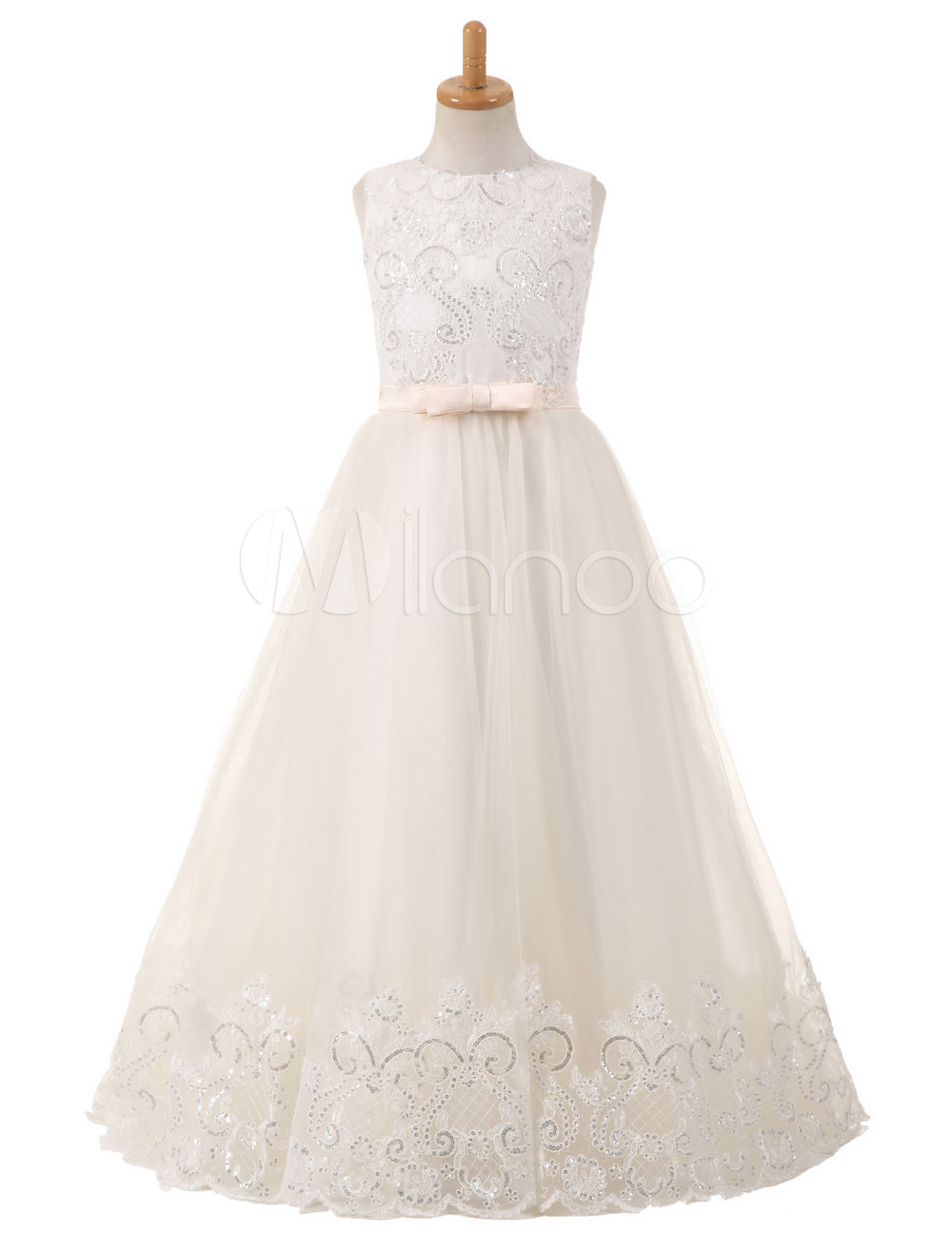 Flower Girl Dresses Tulle Bows Lace Sequins Applique Pageant Dresses Round Neck Sleeveless Champagne Floor Length Party Dress