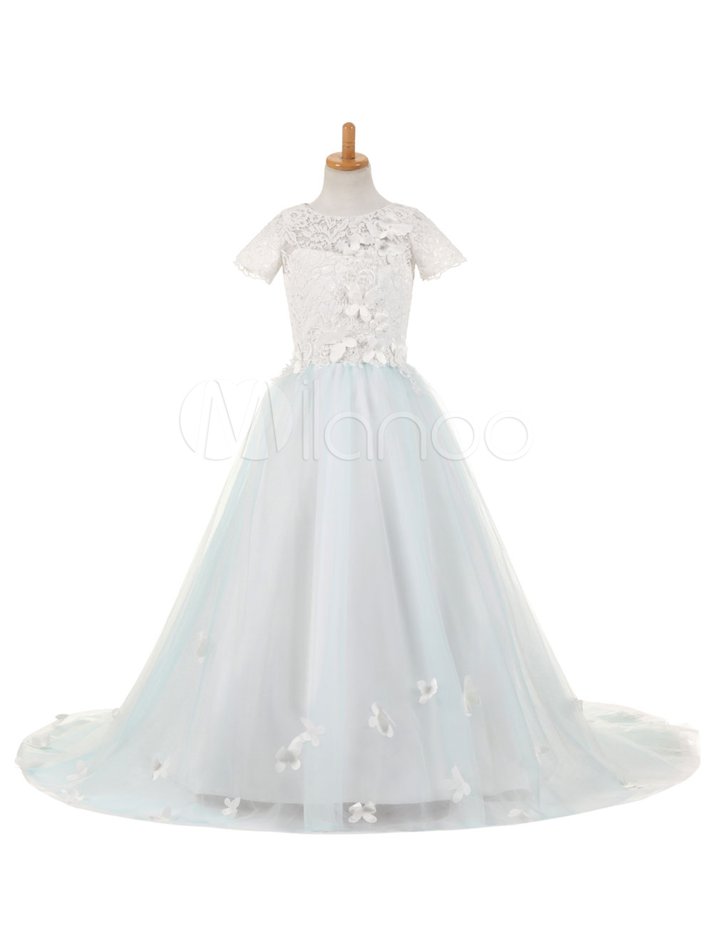649d159e11470 ... Flower Girl Dresses Lace Tulle Satin Applique Kids' Pageant Dresses  Round Neck Short Sleeve Butterfly. 12. 45%OFF. Color:Pastel Blue