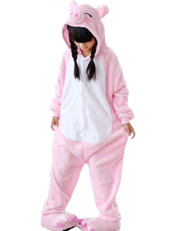 Disfraz de Kigurumi Niños de cerdo rosa de franela para niños para ...