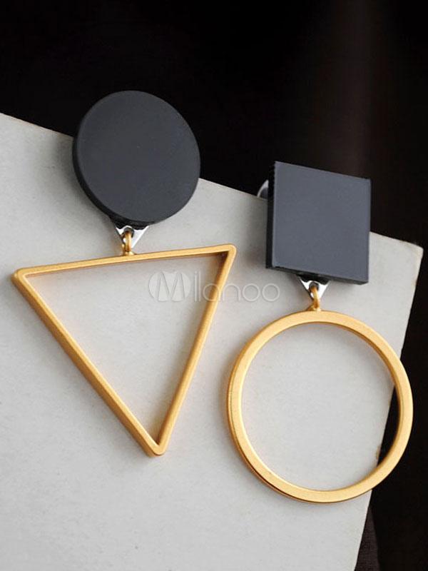 Golden Dangle Earring Hollow Out Two Tone Geometric Shape Women's  Asymmetrical Earrings