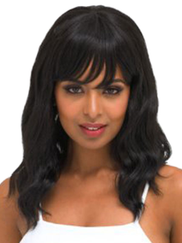 Human Hair Wigs Tousled Natural Wave Shoulder Length Women's Black Wigs With Fringes