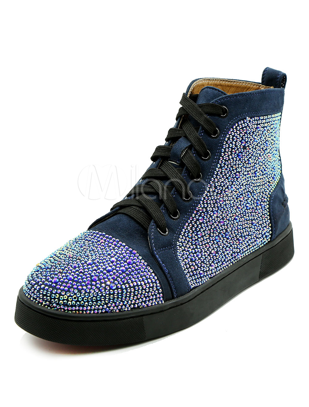 Buy Deep Blue Sneakers Round Toe Flat Rhinestones Lace Up Suede Men's Skate Shoes for $94.99 in Milanoo store