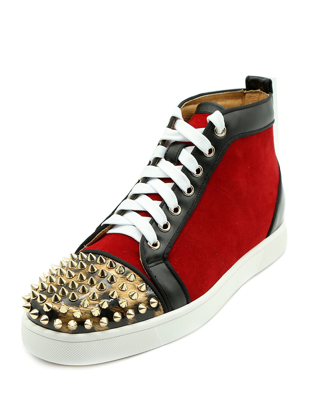 Buy Red Skate Shoes Leather Men's Round Toe Rivets Lace Up High Top Sneakers for $94.49 in Milanoo store