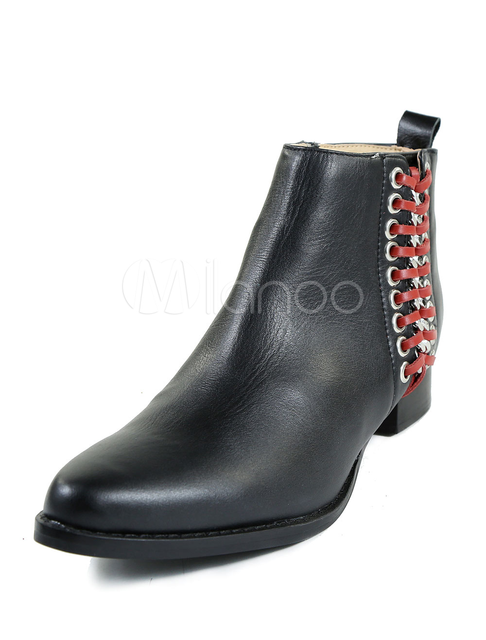 Black Ankle Boots Men's Round Toe Flat Lace Up Two Tone Leather Booties