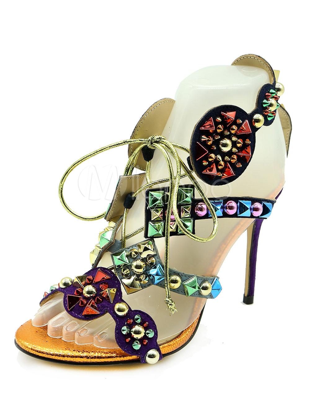 Purple Sandal Shoes Women's High Heel Stiletto Open Toe Lace Up Rivets Sandals