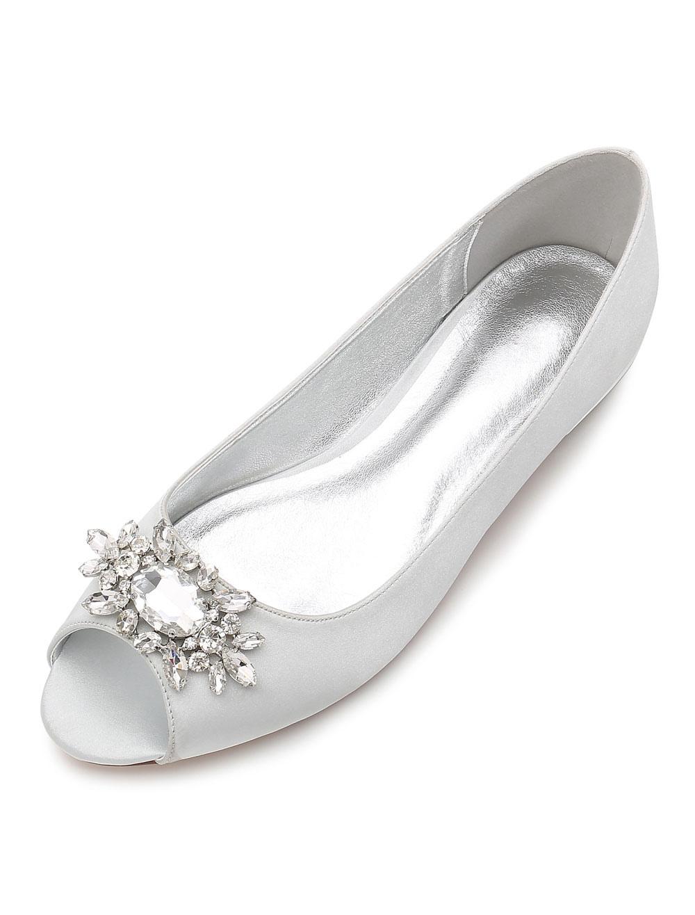 Mother Of Bride Shoes Peep Toe Rhinestones Wedding Guest