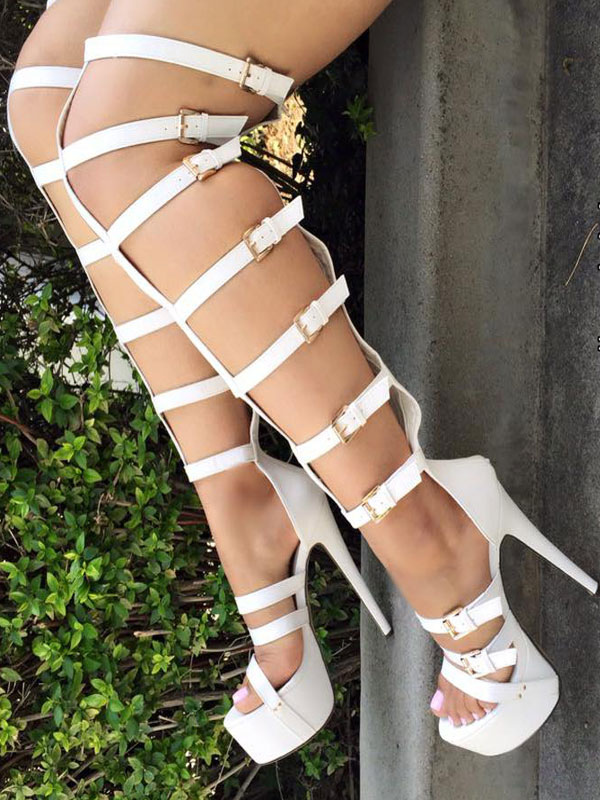 Buy White Gladiator Sandals High Heel Stiletto Open Toe Buckled PU Women's Platform Sandal Shoes for $94.49 in Milanoo store