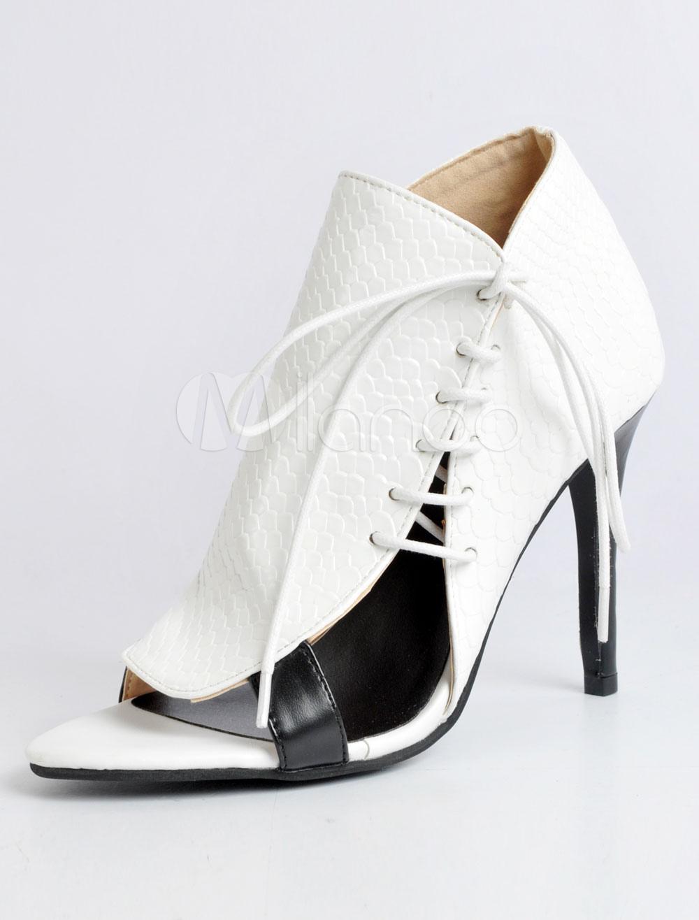f2f62295d White Sandal Booties High Heel Stiletto Open Toe Lace Up PU Women's ...