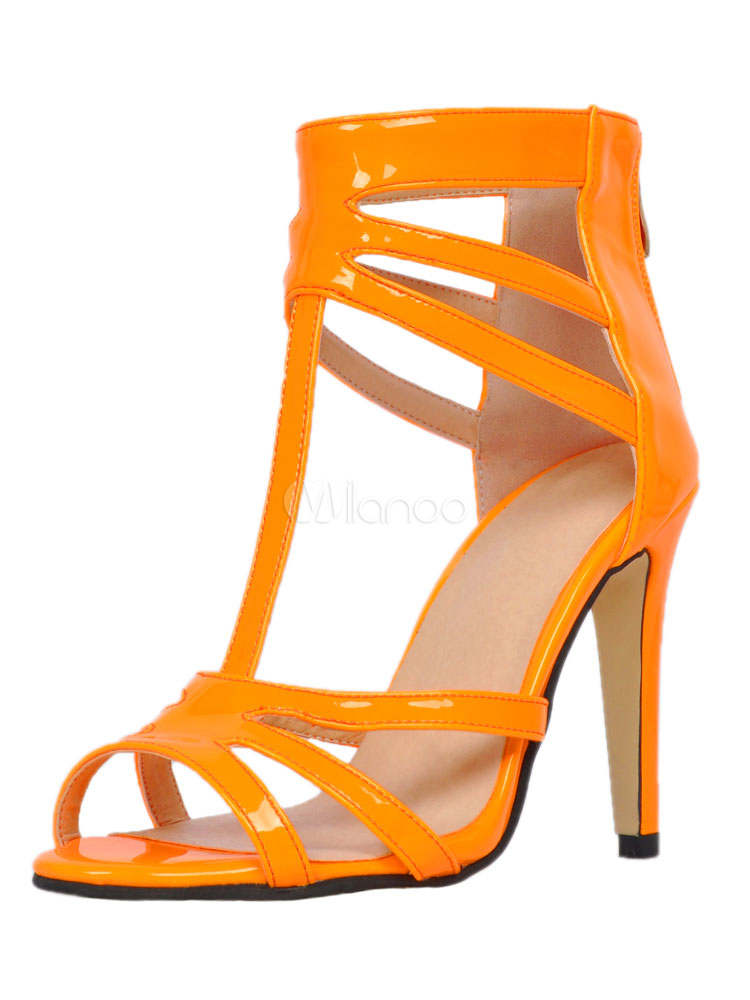 High Heel Sandals Orange Open Toe T Type Ankle Strap Sandal Shoes For Women