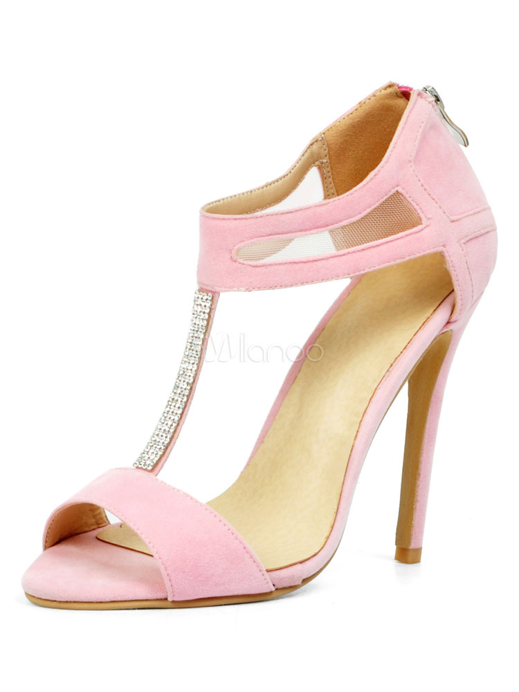 High Heel Sandals Pink Open Toe Faux Suede Rhinestones T Strap Women's Sandals