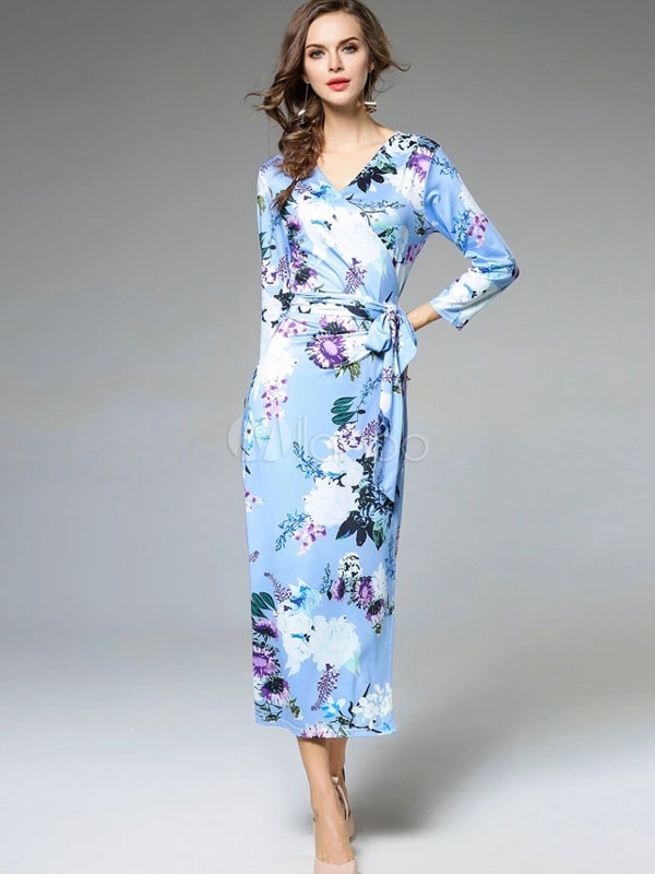 Buy Women's Maxi Dress Long Sleeve V Neck Floral Print Light Sky Blue Shaping Wrap Dresses for $28.49 in Milanoo store