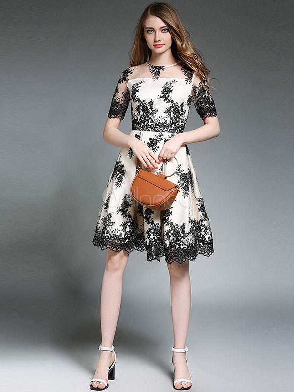 Buy Black Skater Dresses Round Neck Short Sleeve Embroidered Pleated Chiffon Lace Dress For Women for $52.24 in Milanoo store