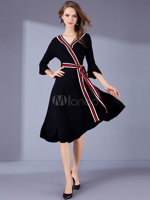 Buy Black Skater Dresses Long Sleeve V Neck Striped Wrap Dress For Women for $37.99 in Milanoo store