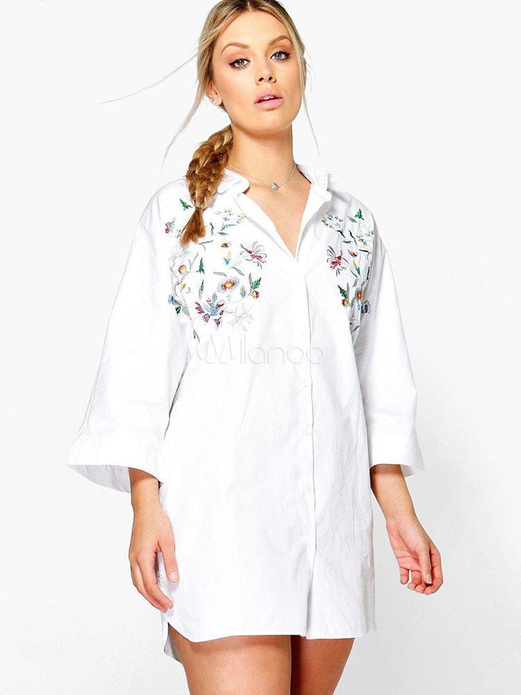 Buy White Shirt Dress Long Sleeve Turndown Collar Embroidered Short Dresses For Women for $28.89 in Milanoo store