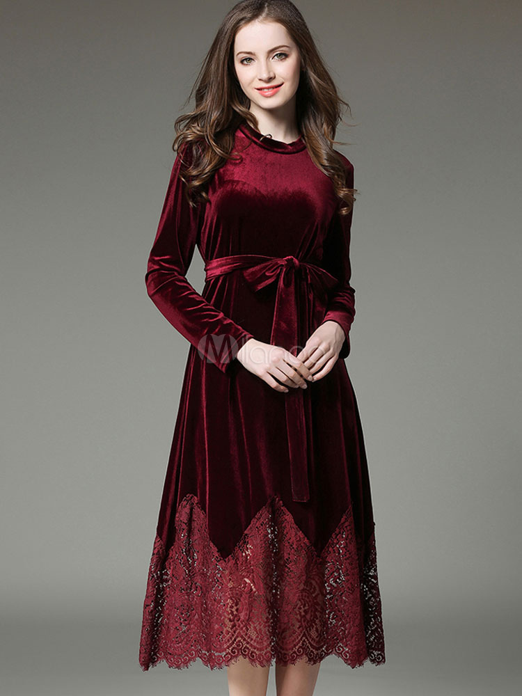 Buy Velour Skater Dress Lace Patch Round Neck Long Sleeve Shaping Pleated Flare Dress With Sash for $44.99 in Milanoo store