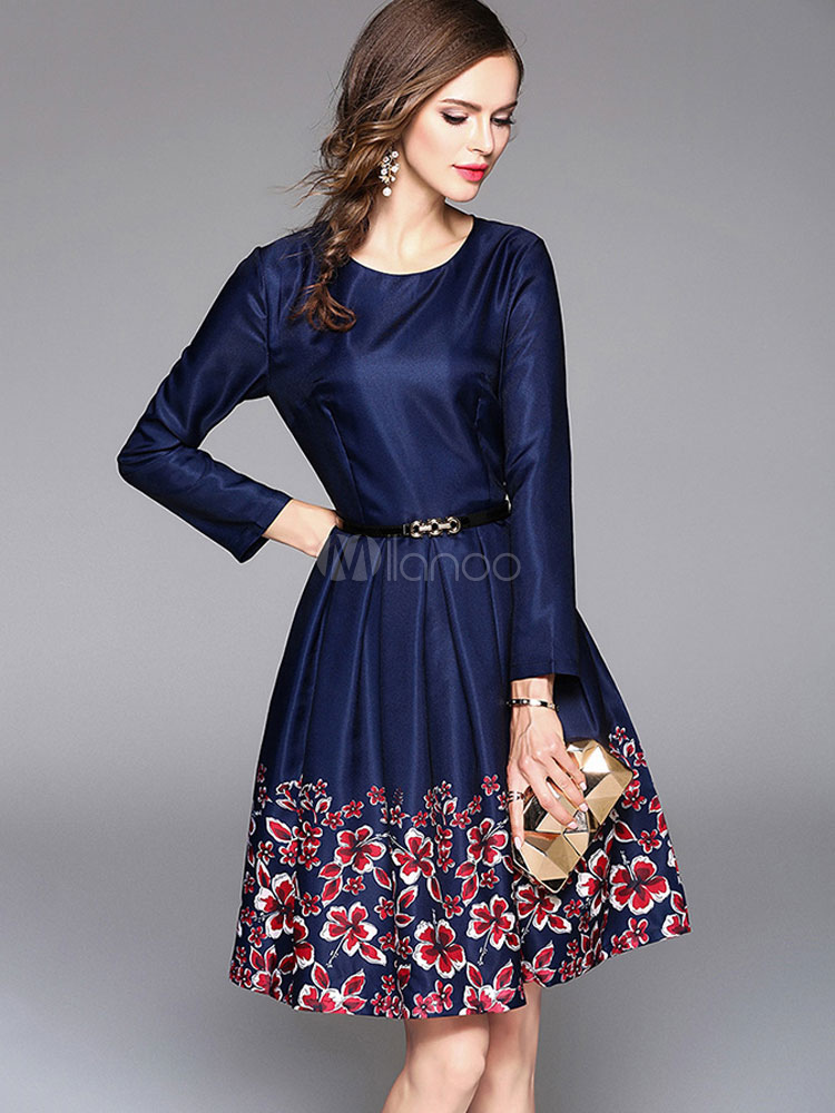 Buy Blue Skater Dress Floral Print Round Neck Long Sleeve Pleated Shaping Flare Dress With Belt for $32.29 in Milanoo store