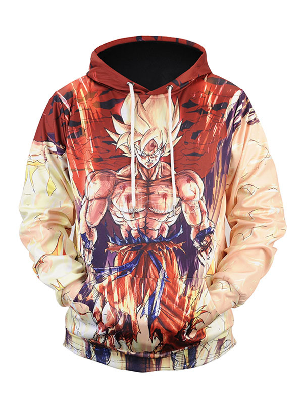 Brown Cotton Hoodie Men's Hooded Long Sleeve Dragon Ball Printed Regular Fit Sweatshirt