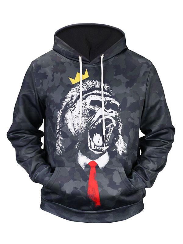 Buy Black Pullover Hoodie Men's Hooded Long Sleeve Camo Printed Regular Fit Sweatshirt for $18.99 in Milanoo store