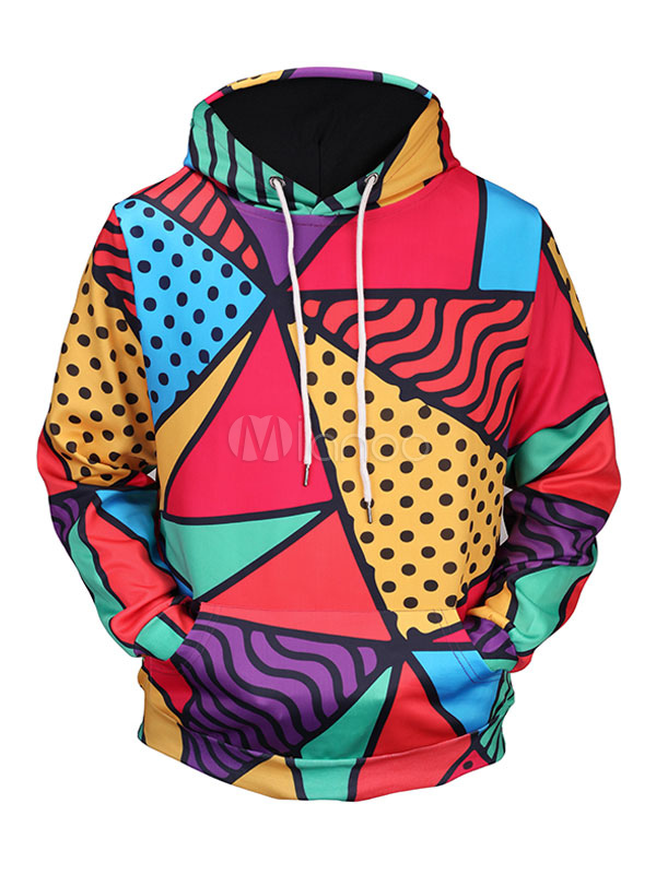 Buy Men's Pullover Sweatshirt Multicolor Hooded Long Sleeve Printed Regular Fit Hoodie for $18.99 in Milanoo store