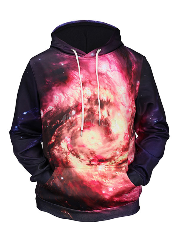 Buy Blue Pullover Sweatshirt Men's Hooded Long Sleeve Galaxy Printed Regular Fit Hoodie for $18.99 in Milanoo store