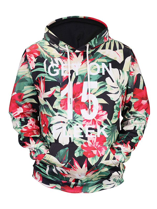 Buy Men's Pullover Sweatshirt Hooded Red Floral Printed Long Sleeve Casual Hoodie for $19.79 in Milanoo store