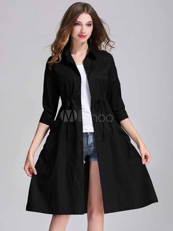 Black Shirt Dress Spread Collar Half Sleeve Women's Trench Coat Dresses Cheap clothes, free shipping worldwide