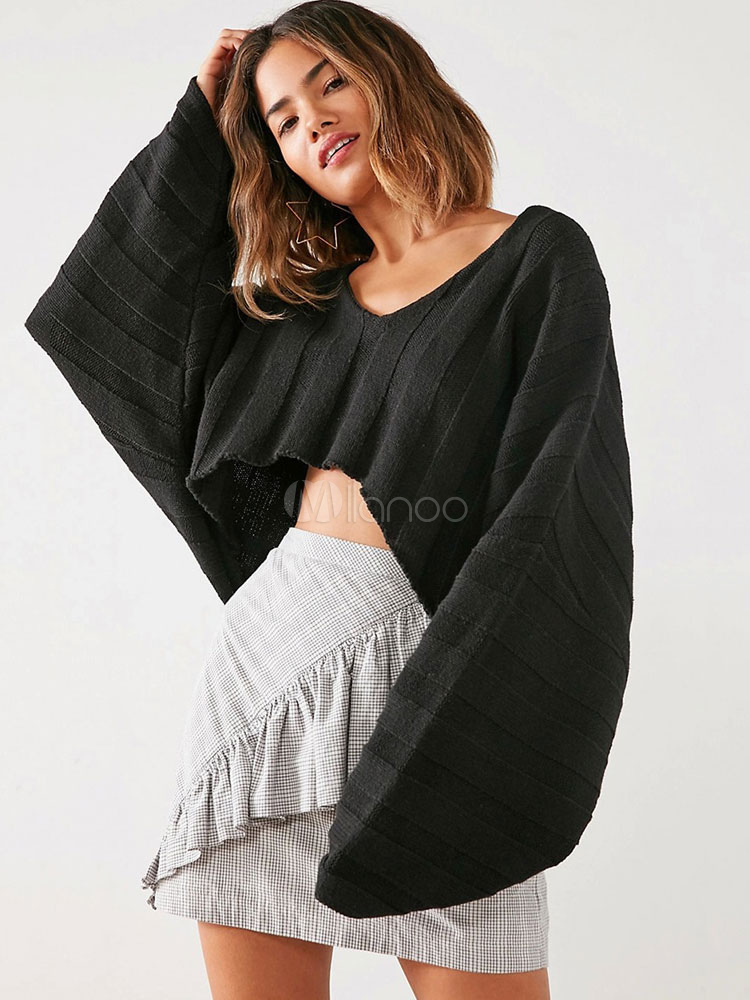 Black Pullover Sweater Cropped High Low Batwing Long Sleeve Oversized Knitwear For Women