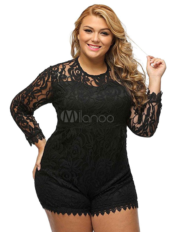 Plus Size Romper Lace Round Neck Long Sleeve Shaping Women's Playsuit Cheap clothes, free shipping worldwide