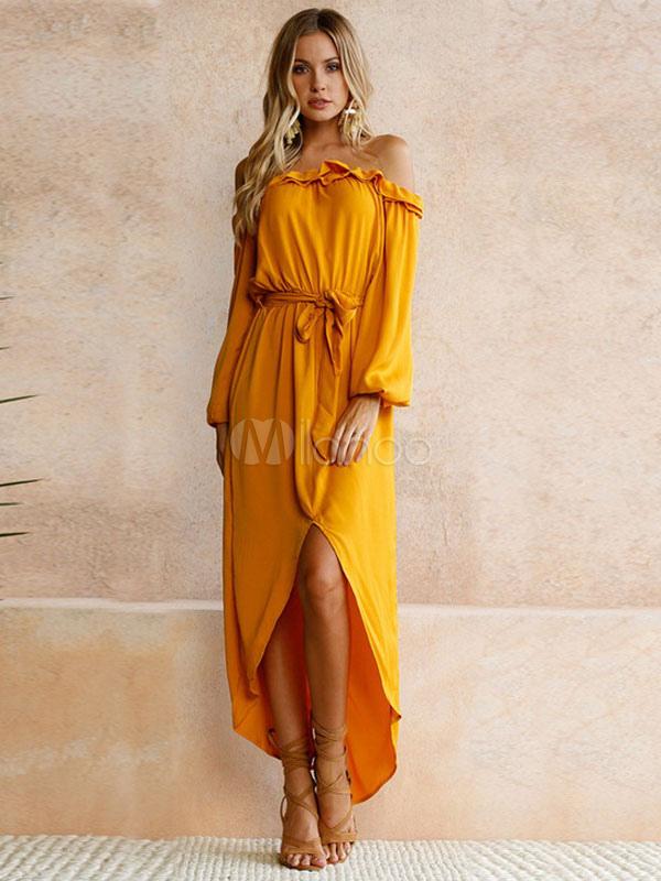 75a9c1dcee Women Maxi Dress Off The Shoulder Casual Long Sleeve Ruffles Sash  Asymmetrical Long Summer Dresses- ...