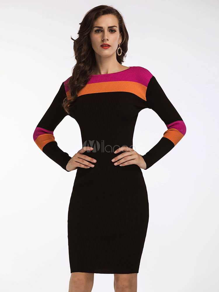 Black Sweater Dress Knitted Long Sleeve Color Block Shaping Bodycon Dress March 2018. New collection, free shipping.
