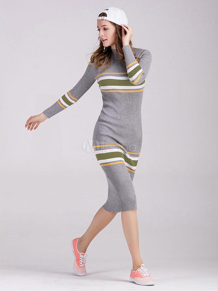 Abito in maglia con collo alto maniche lunghe in lana mista a strisce donna  -No ... 9b950de7639