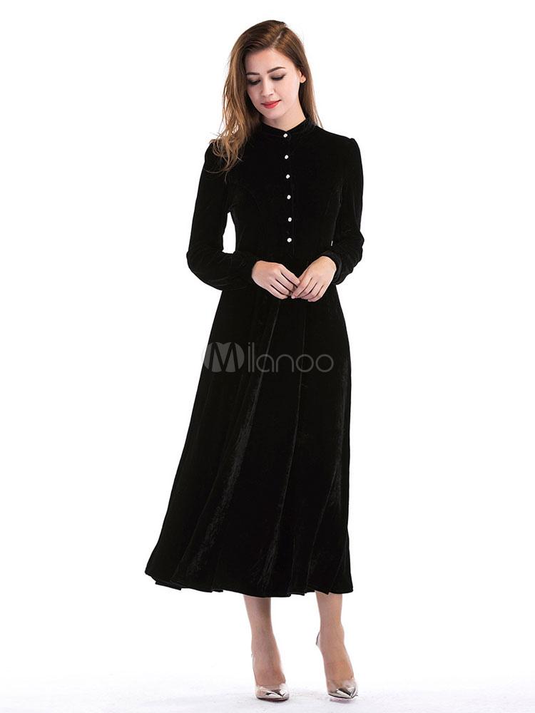 Buy Black Maxi Dresses Long Sleeve Stand Collar Velour Buttons Women's Skater Dress for $39.99 in Milanoo store