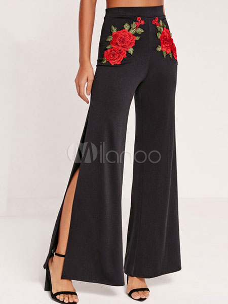 Black Long Pants Women's Split Embroidered Wide Leg Pants Cheap clothes, free shipping worldwide