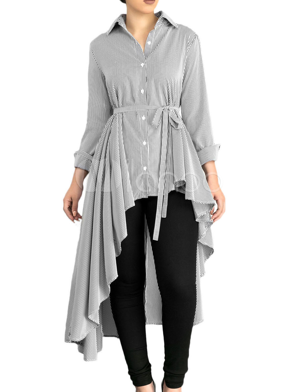 Buy Grey Women's Blouses Long Sleeve Turndown Collar Striped High Low Shirt for $23.74 in Milanoo store