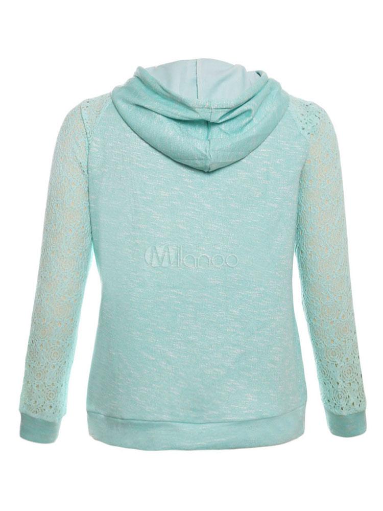 Mint Green Hoodie Hooded Long Sleeve Lace Women S