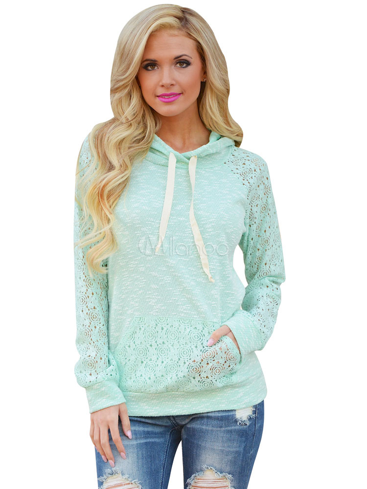 Mint Green Hoodie Hooded Long Sleeve Lace Women's Sweatshirt