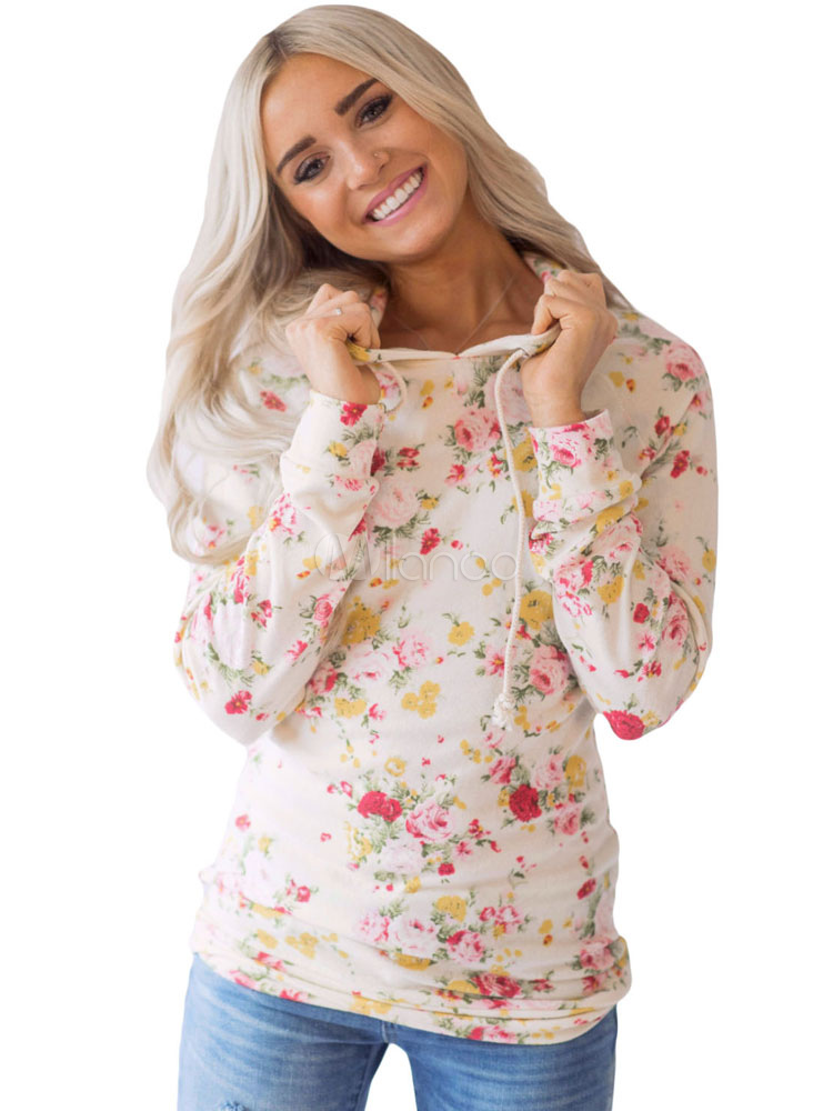 Plus Size Hoodie Apricot Hooded Long Sleeve Floral Print Women's Sweatshirt Cheap clothes, free shipping worldwide