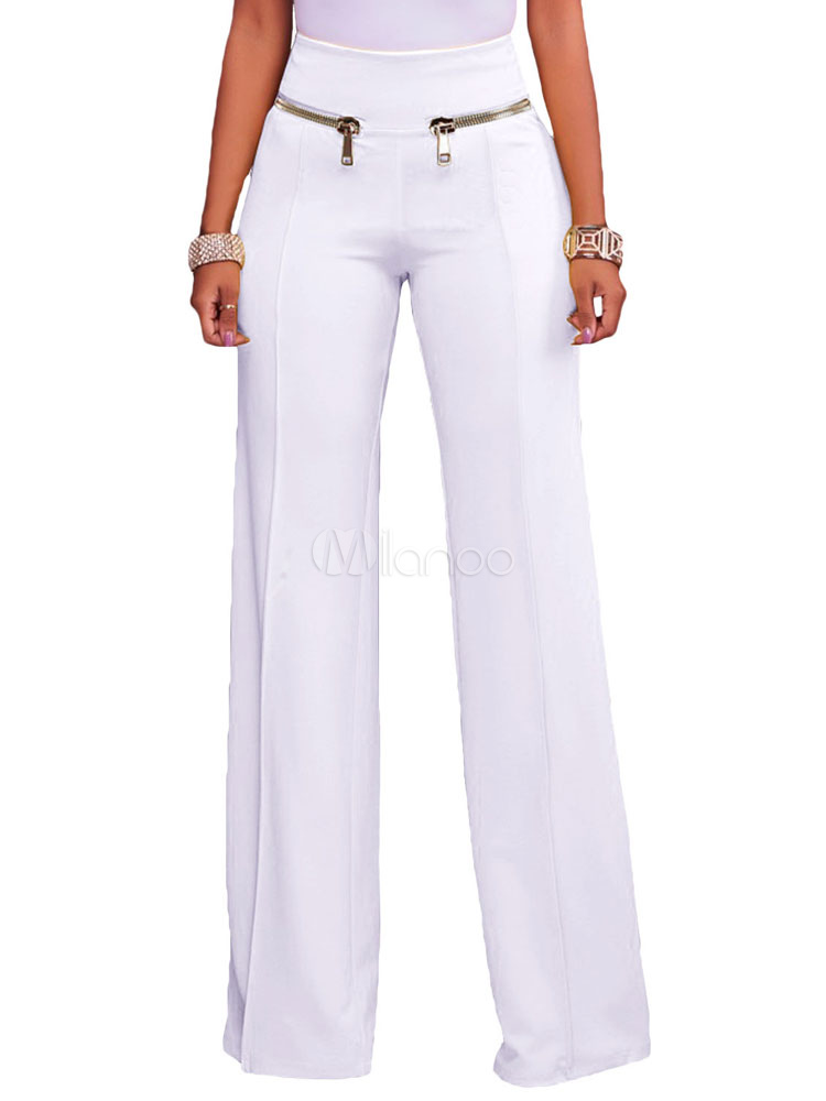 White Long Pants High Waisted Straight Women's Pants Cheap clothes, free shipping worldwide
