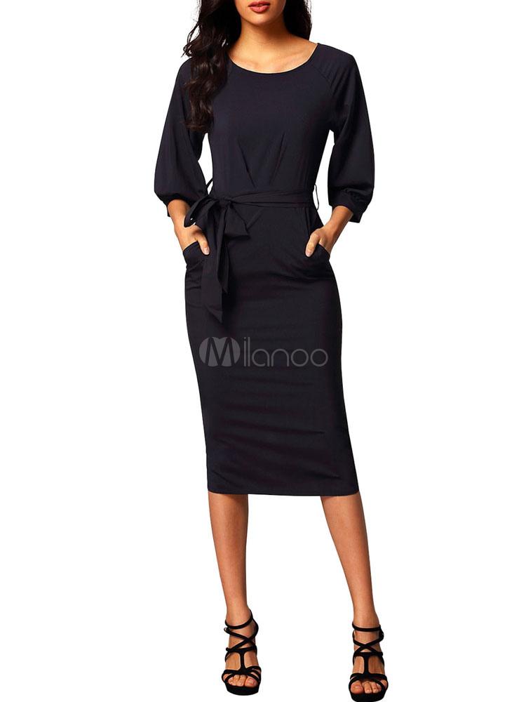 Black Bodycon Dresses Long Sleeve Round Neck Split Shaping Womens