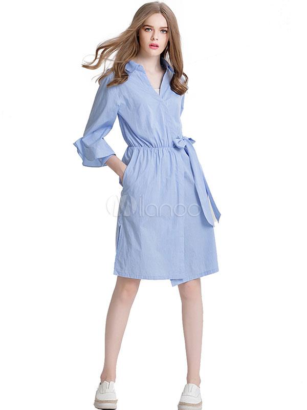 promo code 9da3f a1852 Vestito chemisier lungo fino al ginocchio di poliestere azzurro fuori per  adulti monocolore maniche a 3/4 con colletto autunno