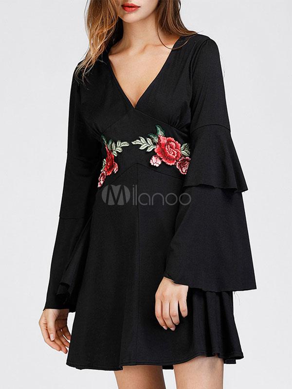 Buy Black Skater Dress V Neck Bell Sleeve Layered Ruffles Applique Pleated Flare Dress for $23.74 in Milanoo store