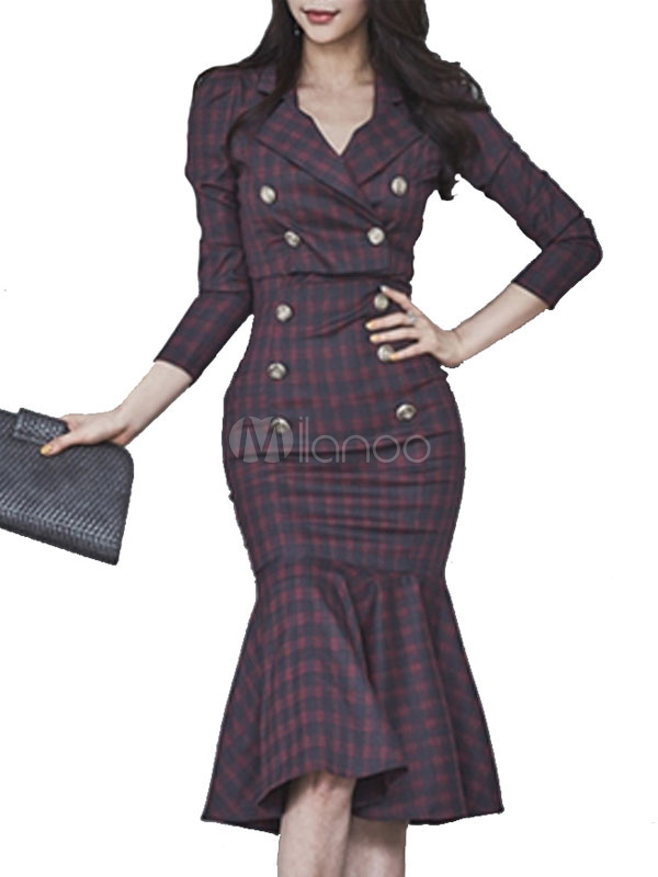 Buy Burgundy Dress Set Women's Long Sleeve Turndown Collar Plaid Overcoat With Ruffles Double Breasted Mermaid Bodycon Dresses for $52.24 in Milanoo store