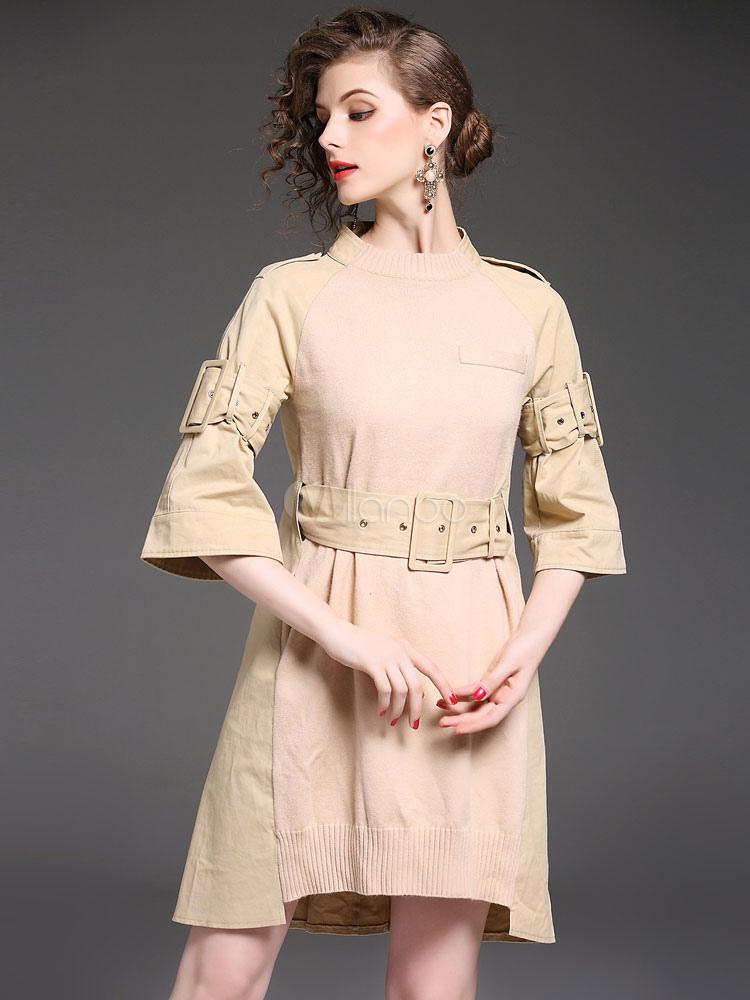 Buy Khaki Skater Dresses Round Neck Bell Sleeve Patchwork Sash Women's Short Dress for $47.49 in Milanoo store