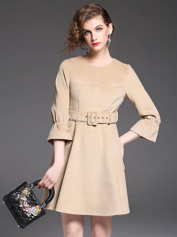Buy Khaki Skater Dress Round Neck Bell Sleeve Sash Women's Short Dresses for $37.99 in Milanoo store