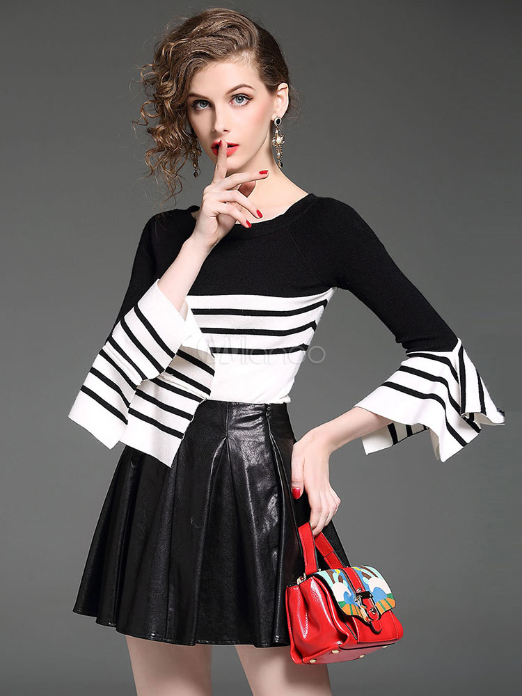Buy Black Skirt Set Round Neck Bell Sleeve Striped Knit Top With Pleated Short Skirts For Women for $42.74 in Milanoo store