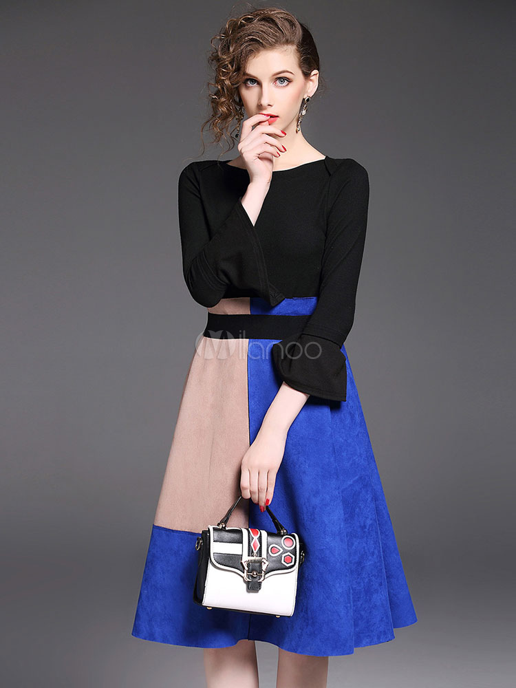 Buy Black Skirt Set Round Neck Bell Sleeve Knit Top With Color Block Suede Skirts For Women for $37.99 in Milanoo store