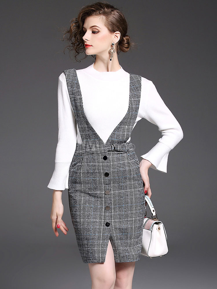 Buy Grey Skirt Set Round Neck Bell Sleeve Sweater With Tartan Check Bodycon Jumper Dress For Women for $37.99 in Milanoo store